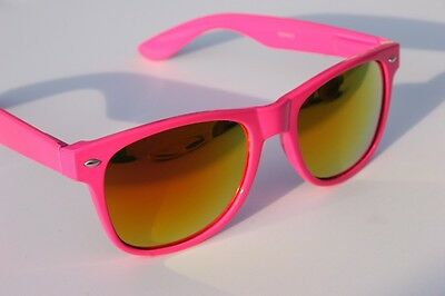 Neon Pink Sunglasses (New Neon Pink Way Sunglasses with fire mirror lens 80's retro vintage)