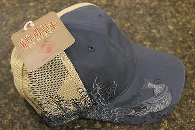 NEW Dri Duck Wildlife Series Mesh Cap Muskie Pike Embroidery Dusk Blue 3079DSK Serie Mesh Cap