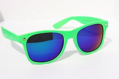 80's Vintage Retro Sunglasses Neon Green with Blue mirror lens](Neon Green Sunglasses)