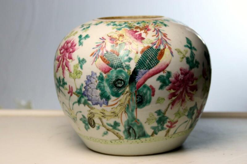 Antique Chinese Porcelain Ginger Jar  Qing Phoenix