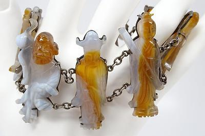 Exceptional Antique Chinese Silver Carved Agate Eight Immortals Bracelet