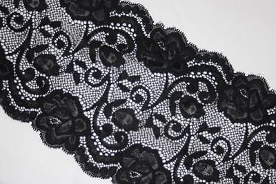 Black Stretch Lace Trim - 1 yard BLACK galloon Floral lingerie stretch sewing trim lace 5.75