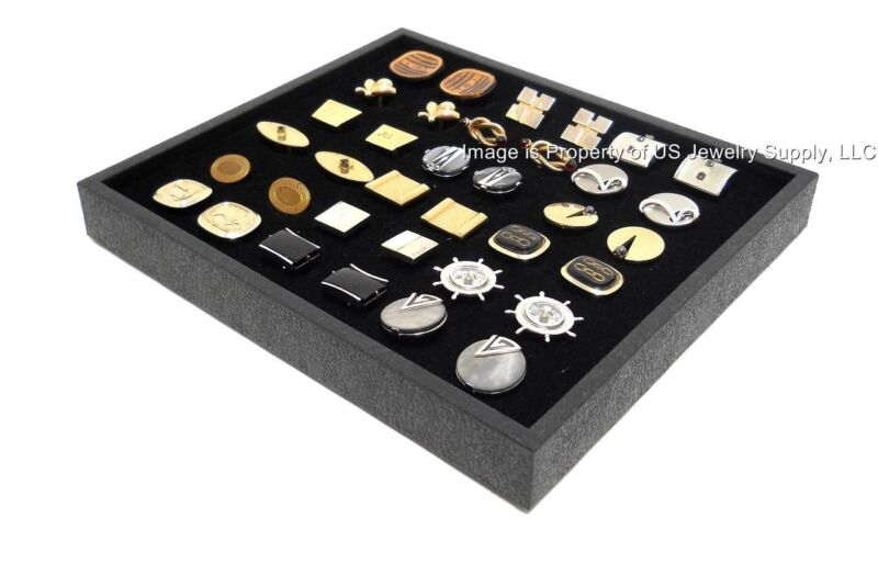 Lot of 6 New Cufflinks Storage Display Black Stackable Trays