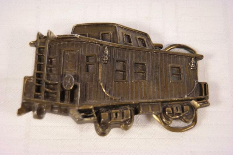 Vintage 70s Railroad Train Caboose Solid Brass Belt Buckle Limited Edition