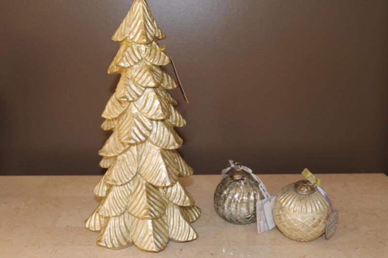 "GLITZ + GLIMMER GOLD RESIN HOLIDAY CHRISTMAS TREE(s) 16"" TABLETOP DECOR - NEW"