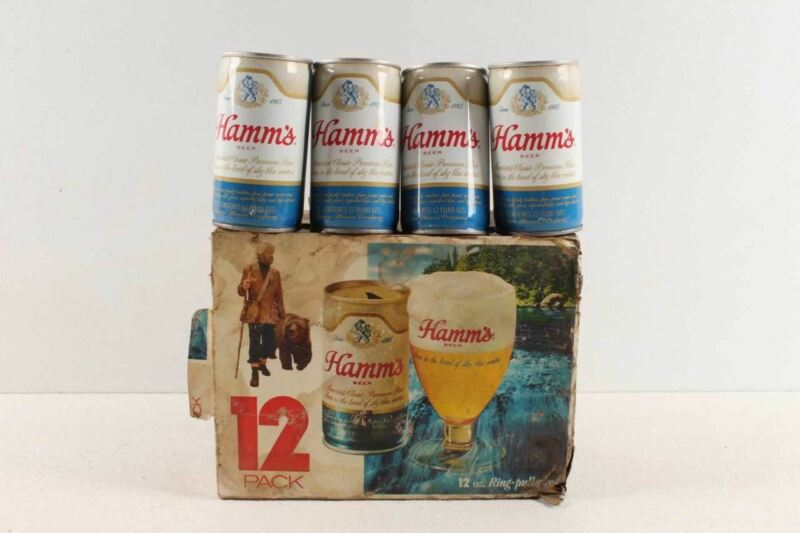 Vintage Hamms Beer Pull Tab Cans & Box