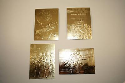Set of 4 - STAR WARS 23KT Gold Cards DARTH VADER / SHADOWS / FALCON / BOUNTY