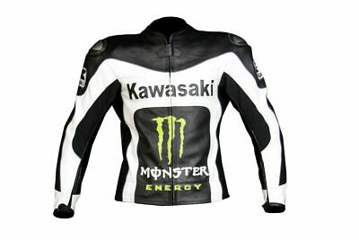 KAWASAKI BLACK WHITE COWHIDE RACING MOTORCYCLE LEATHER JACKET WITH SAFETY PADS