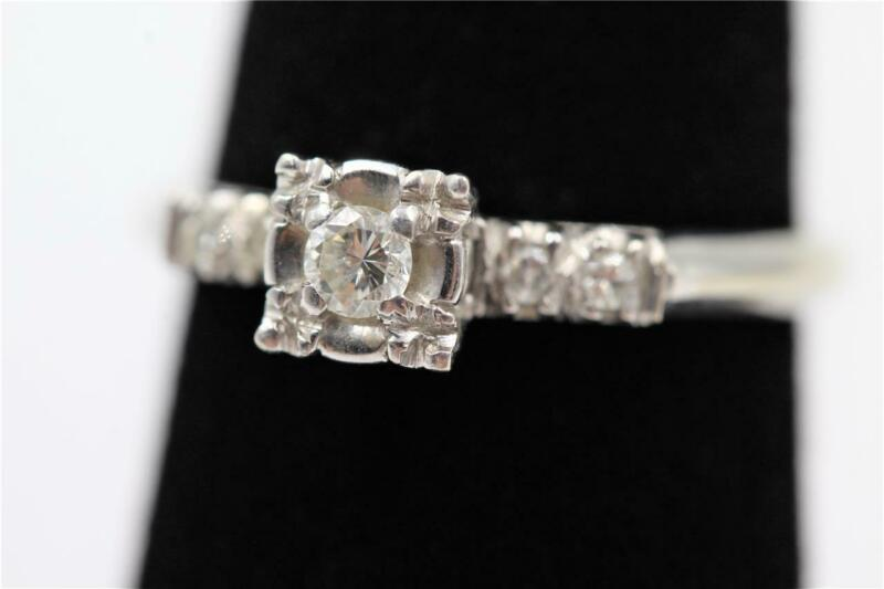 VINTAGE ESTATE 14K SOLID WHITE GOLD 5 AUTHENTIC DIAMONDS 6.75 ENGAGEMENT RING