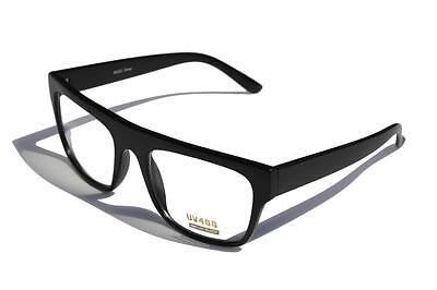 Matte black frame classic nerd Rectangle sun glasses clear lens geek (Rectangle Frame Glasses)