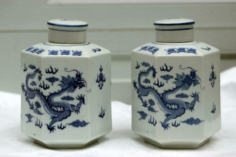 Pair Chinese Dragon Porcelain Qianlong Tea Caddies