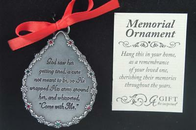 In Loving Memory Ornaments ('In Loving Memory' Memorial Tear Drop Ornament -Her Girl/Woman #C0515 New In)