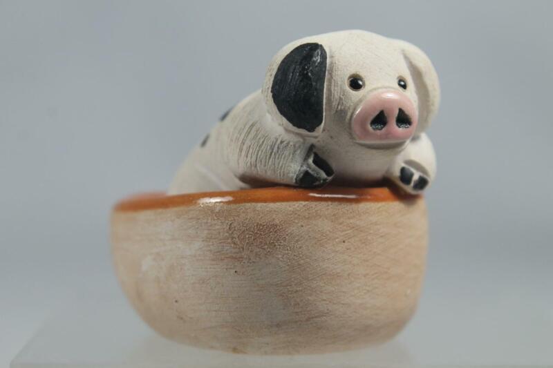 Rinconada Classic Black & White Baby Pig In Orange Tub #06D Retired In Box