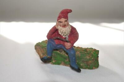ANTIQUE GERMAN COMPOSITION GNOME ELF SANTA CHRISTMAS VILLAGE MINIATURE FIGURE