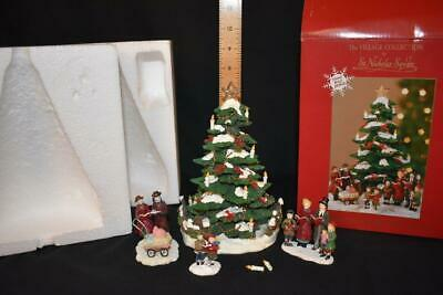 St. Nicholas Square Village Caroling Around the Tree 4 pc Set, Original Box 2002