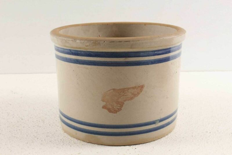 Antique Red Wing Stoneware Crock Pantry Jar Wing Decorated