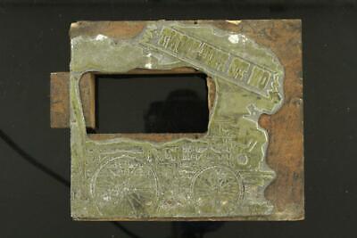 Vintage Metal Wood Newspaper Print Plate Block On To Philmont Railroad Train
