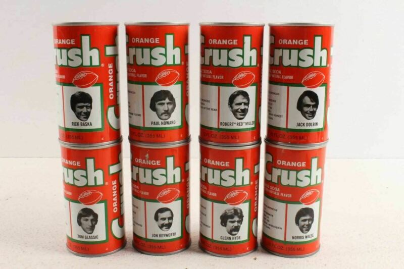 8 Vintage 1978  Denver Bronco Football Player Orange Crush Soda Cans