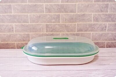 Good Cook Oval Microwave Food Steamer Cooker Dish Container - 28 x 19cm - Green
