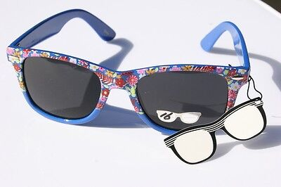 (Hawaiin Flower BLUE Vintage Retro Sunglasses Smoke lens 80's)