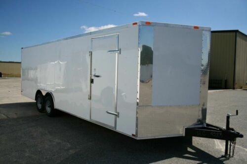 NEW 8.5 X 24 8.5X24 Enclosed Carhauler Trailer W/ V-Nose, MUST SEE ! ! !