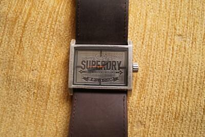 RARE NEW OLD STOCK MENS SUPERDRY WATCH WITH BROWN STRAP 45MM WOW