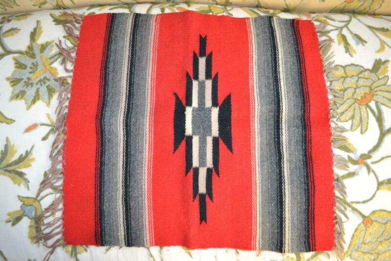 Fred Harvey Chimayo woven wool textile small rug mat red with fringe Navajo