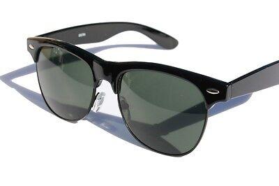 Schwarze Runde Sonnenbrille mit Grün Getönt Gläser 24.4ms Vintage