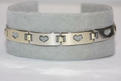 Fine 14K Yellow/ White Gold Rectangle Open Heart Bar Link Bracelet - 7