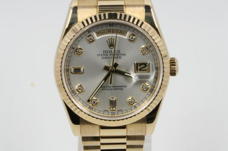 Rolex Day-date 118238 Silver Diamond Dial Box & Booklets