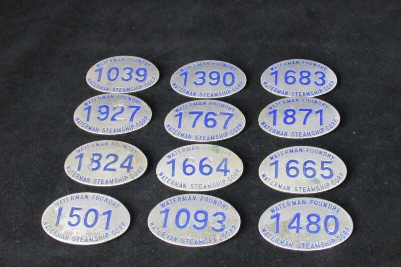 Lot of 12   Vintage Steamship Waterman Metal Employee Badges