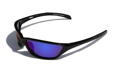 Negro Gafas de Sol Polarizadas Lente Espejo Azul Delgado Pesca Ciclismo Béisbol
