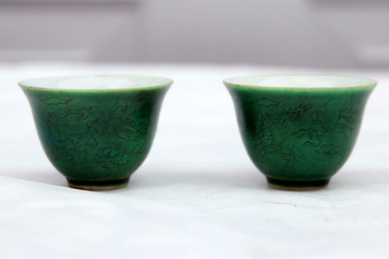 pair Chinese Chenghua Marked Porcelain  Cups Green with Dragons