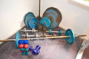 150kg steel weight plates + 2 barbells + 12 dumbbells Spotswood Hobsons Bay Area Preview