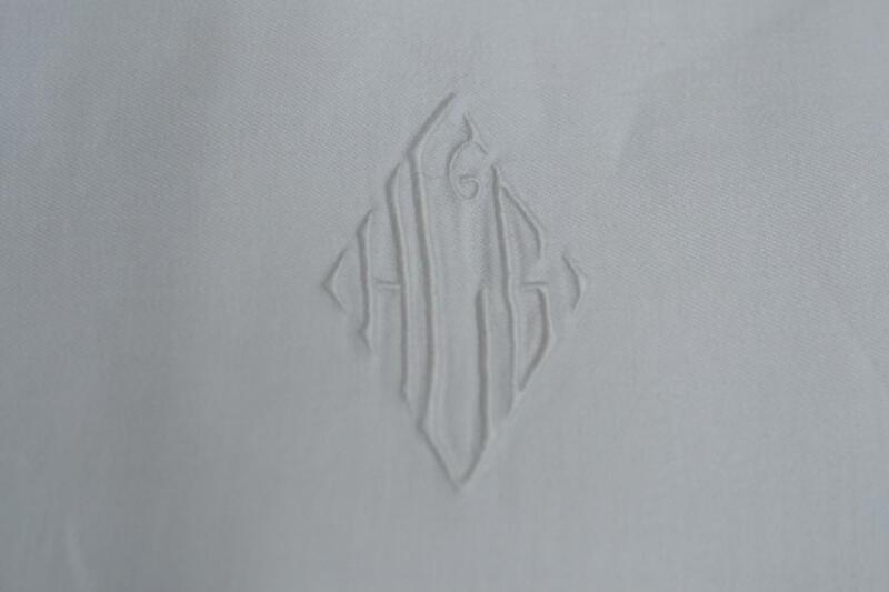 """7 Antique Art Nouveau Double Damask Napkins Lapkins Mono 26"""" x 26"""" Perfect Unusd"""
