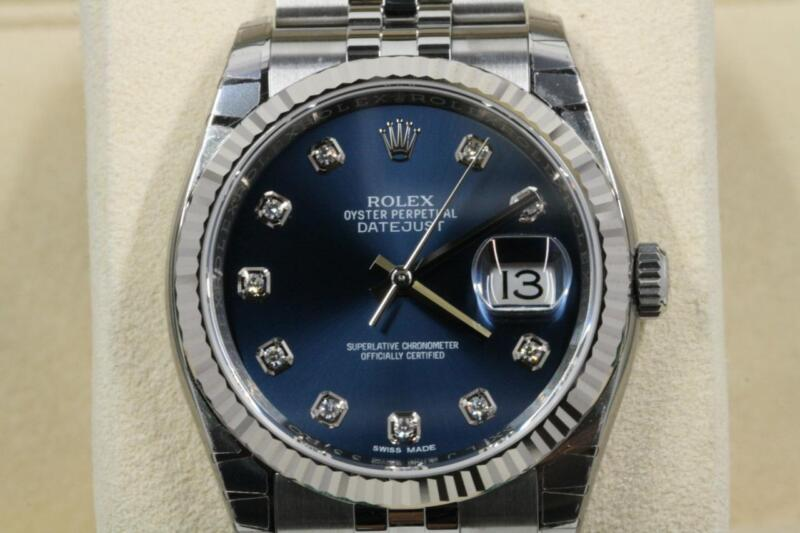 Rolex Datejust 116234 Blue Diamond Dial 2018 Model Unworn With Box & Papers