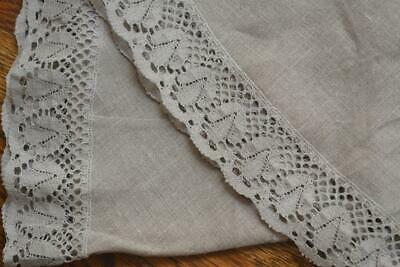 "Elegant Pure Belgium Linen Round Tablecloth 81"" Elaborate Lace Inserts Cocoa Col"