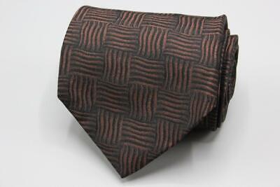 XMI Silk Tie. Black with Brown Basket Weave Pattern Basket Weave Silk Tie
