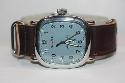 Men's Shinola 'The Guardian' Blue Dial Leather Strap 41.5mm Watch S0120029581