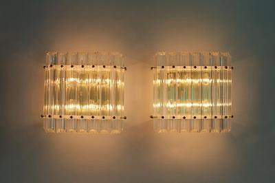 PAIR OF SCULPTURAL VINTAGE REGENCY MODERN LUCITE WALL SCONCES (NEW OLD STOCK )