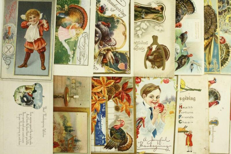 Vintage Lot Early Cancel Postcards THANKSGIVING DAY Greetings Turkeys Children