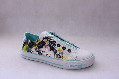 Ed Hardy Kids Lowrise Youth White Canvas Slip On Fashion Sneaker Shoes Size 1 M