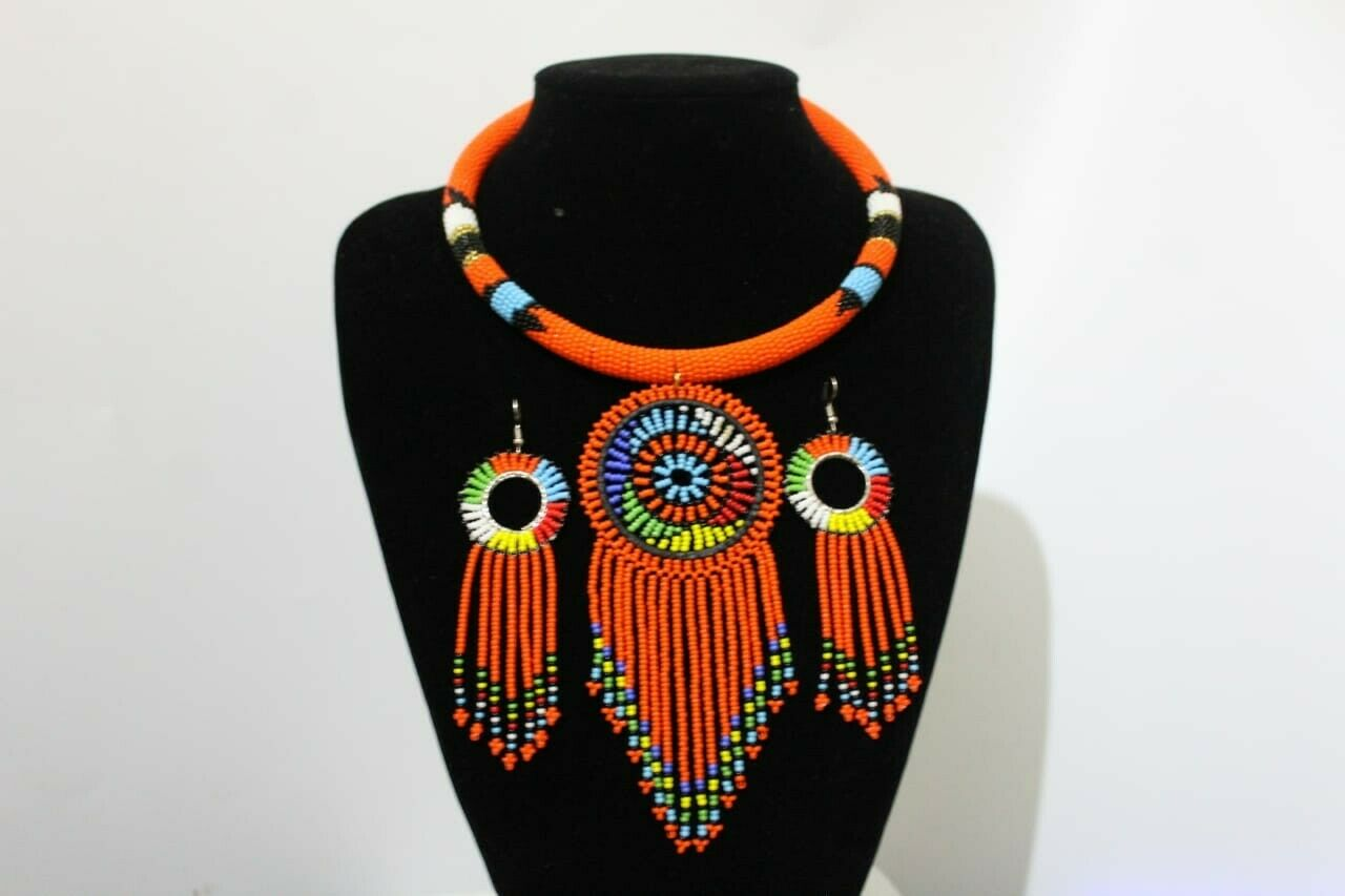 African  Long multicolored Waterfall handmade Beaded Necklace Gold