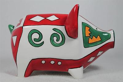Enesco Piggy Bank Geometric  Southwest Colors  Ba54 01 New