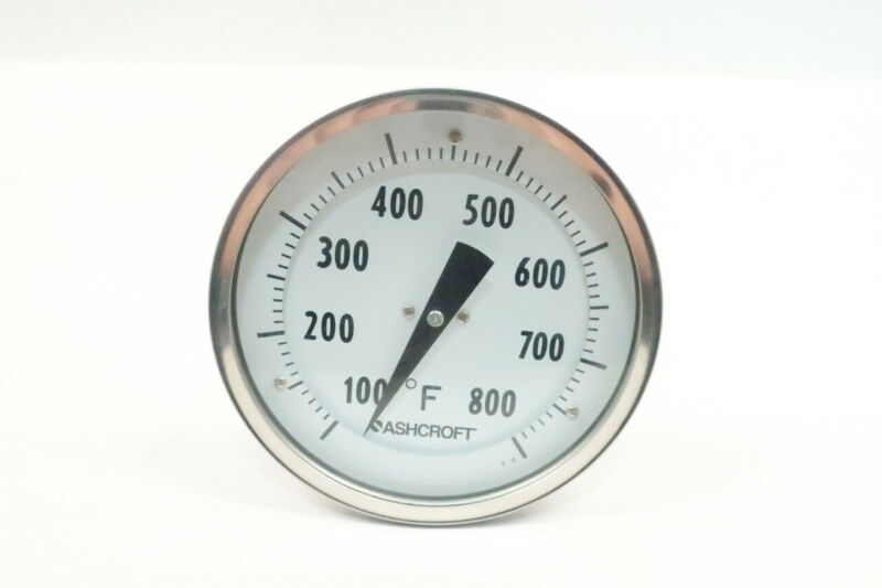 Ashcroft Bimetal Thermometer 5in 100-800f 5in 1/2in Npt