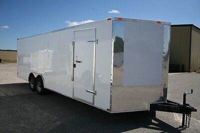 New 8.5 X 24 8.5x24 Enclosed Carhauler Trailer W V-nose Must See