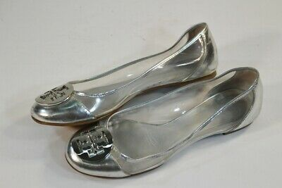 Womens Tory Burch Leather Metallic Silver Clear Ballet Flats 8 1/2 M (Damaged)