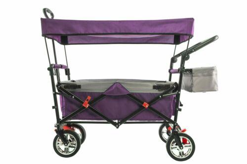 Folding Wagon Push/Pull Sport Wagon 2.0-Purple with Canopy-NEW