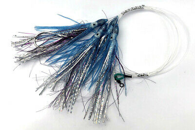 Blue Holographic Drone Trolling Spoon 11cm 4.3 Inches With Mustad Hook New!