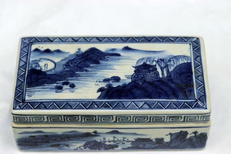 Antique Chinese Qianlong Blue and White Box Mountain Water Scene